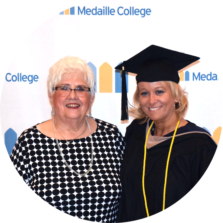 Marge Kafka with Medaille College Scholarship Recipient