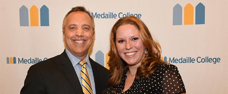LIndsay RIckard (with Dr. Macur) awarded the Medaille College Faculty Pride Award